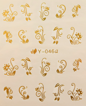 Nail Art Sticker Wassertransfer Gold 046