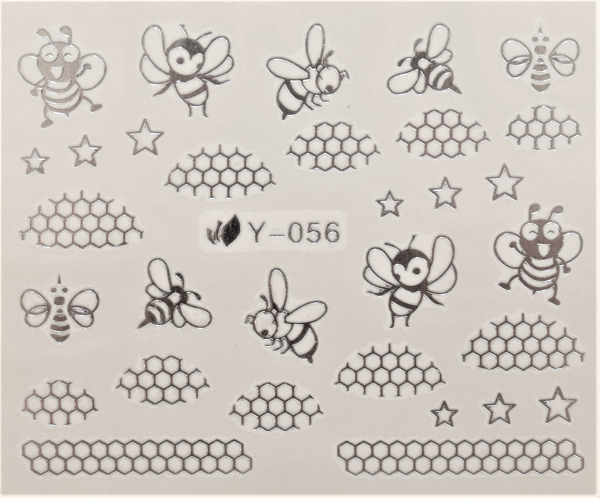 Nail Art Sticker Wassertransfer Silber 056
